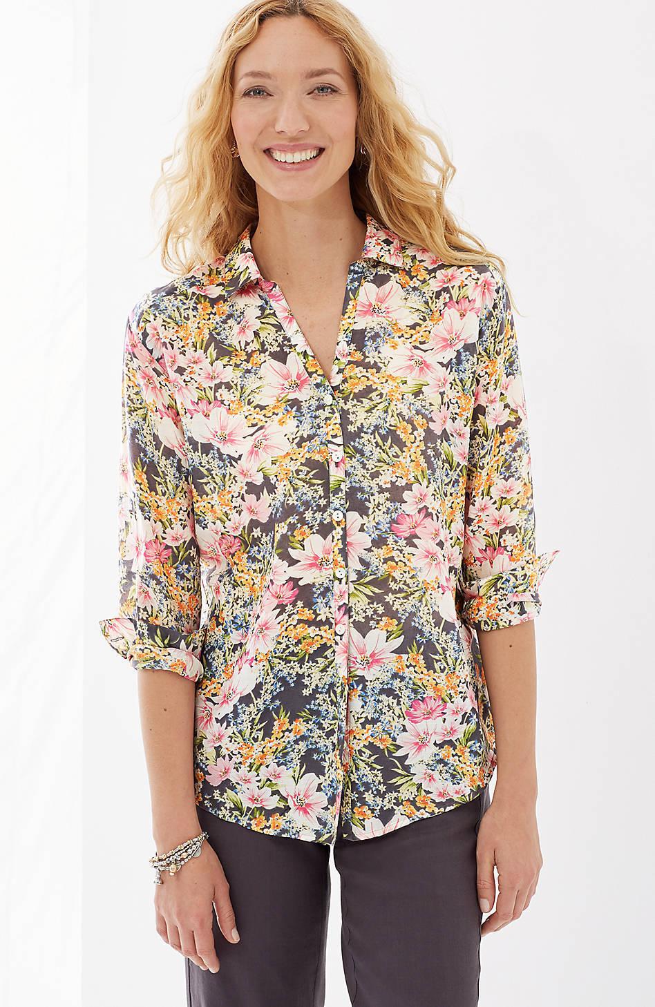 NWT - J. Jill - L (14 16) -  Beautiful & Feminine Cotton & Silk Floral Shirt
