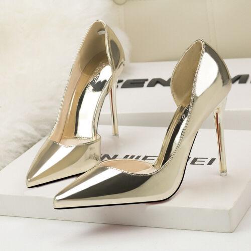 Scarpe decolte eleganti  stiletto 10 cm oro lucido comodi pelle sintetica 1564