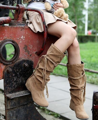 Women Winter Comfy Snow Boot Suede Tassel Mid-calf Boots Flat Shoes Jackboots US