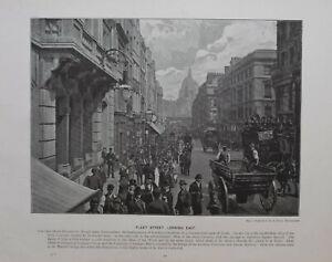 1896 London Stampa + Testo Flotta Street Looking East