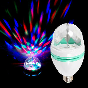 Hot Full Color E27 3W RGB LED Crystal Magic Ball Stage Light Projector DJ Lamps