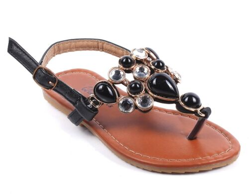 Kids Fashion Rhinestone Strappy Buckle Girls Sandals Youth Casual Shoes Sz 10-4