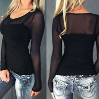 Women Casual Long Sleeve Crew Neck Mesh Sheer See Through Top Blouse Tee T-Shirt