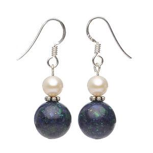 Ohrringe-Ohrhaenger-aus-Azurit-Malachit-amp-Perlen-925-Silber-blau-gruen-Damen