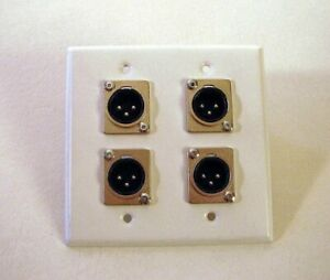 ProCraft-SS-2-Gang-White-Wall-Plate-Loaded-W-Four-Male-XLR-039-s-DPL-4XM-WH
