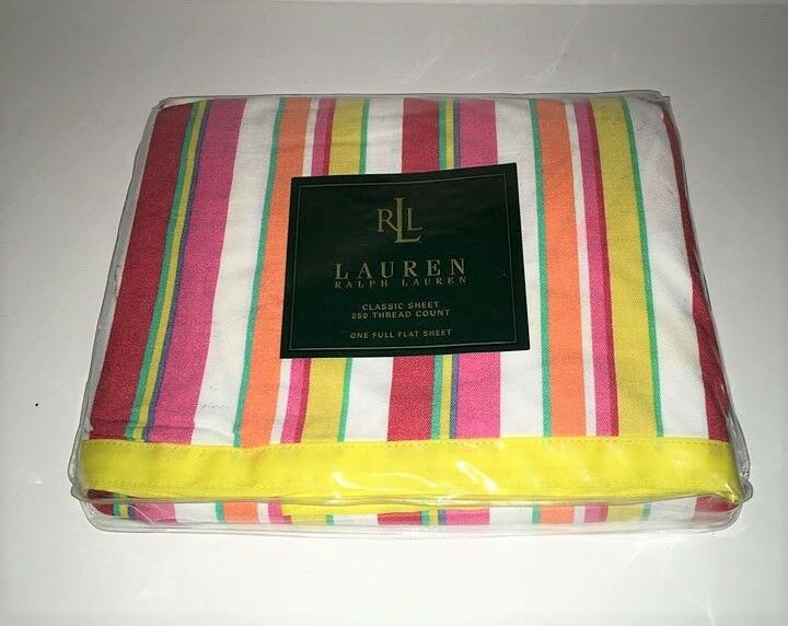Ralph Lauren BEACHSIDE STRIPE Full Flat Striped Sheet New Yellow orange Pink Red