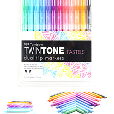 0.3mm 0.8mm Tombow TWINTONE Dual-Tip Markers PASTELS 61501 Set of 12 pc NEW