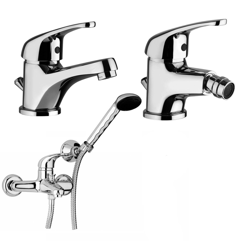 ⭐Piralla Prime Set Miscelatori Lavabo + Bidet + Vasca con Doccia Duplex Cromati⭐