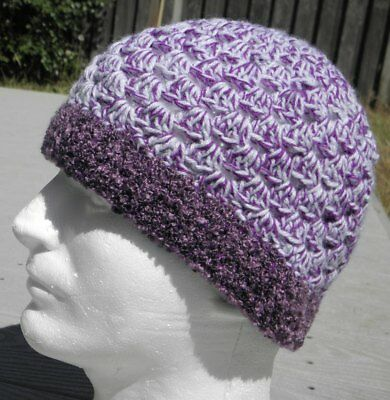Violet/White Crocheted Smaller Size Unisex Beanie - Handmade by Michaela