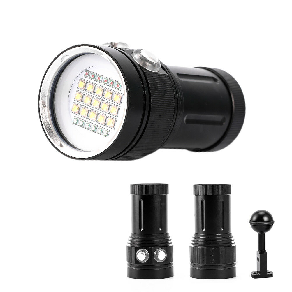 Diving Light Underwater Video 15 XML2+6 ROT+6 UV LED Photography FlashlightFT