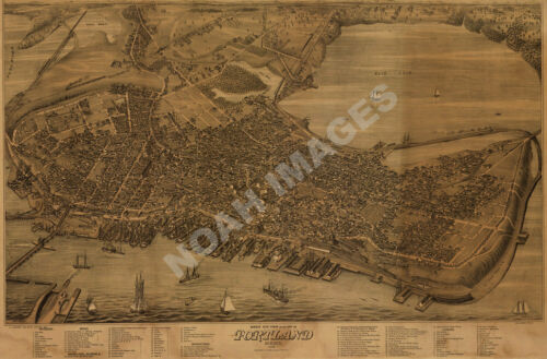 Portland Maine c1876 panoramic map repro