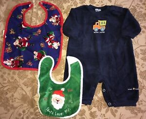 7769d52e4381 baby boys CARTER S ROMPER DUMP TRUCK fleece 3 month 2 CHRISTMAS BIBS ...
