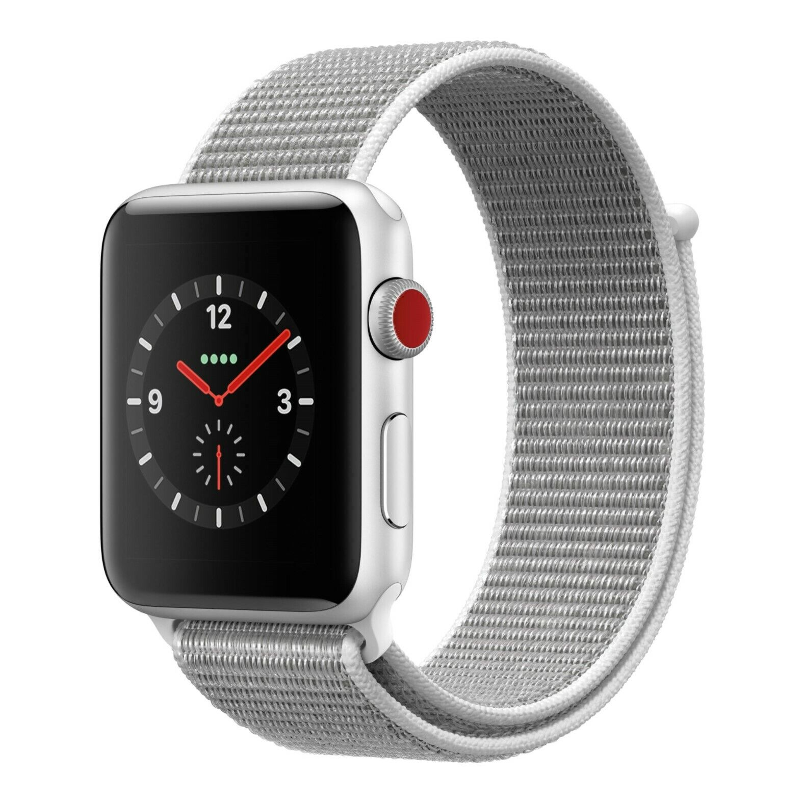 Apple Watch 3 38mm Silver Aluminum Case with Sport Loop Band (GPS + Cellular) 38mm aluminum apple band case Featured loop silver sport watch with