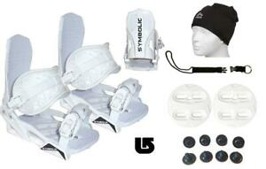 Symbolic-Flow-Ride-Snowboard-Bindings-Leash-Beanie-Burton-3D-Kid-Youth-WHT-XS-S