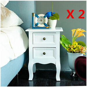PAIR-OF-2-WOODEN-BEDSIDE-TABLE-CABINET-NIGHTSTANDS-BEDROOM-FURNITURE-2-DRAWERS