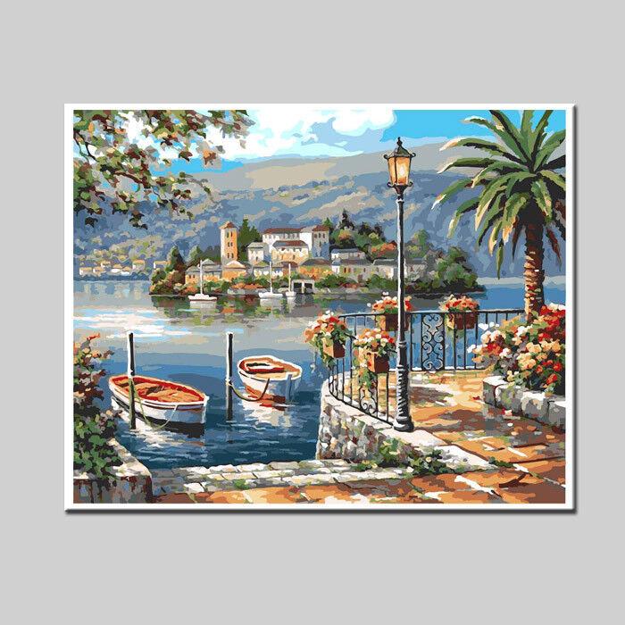 Malen nach Zahlen Italien Insel im See 40x50 cm auf auf auf echter Leinwand 7ba524