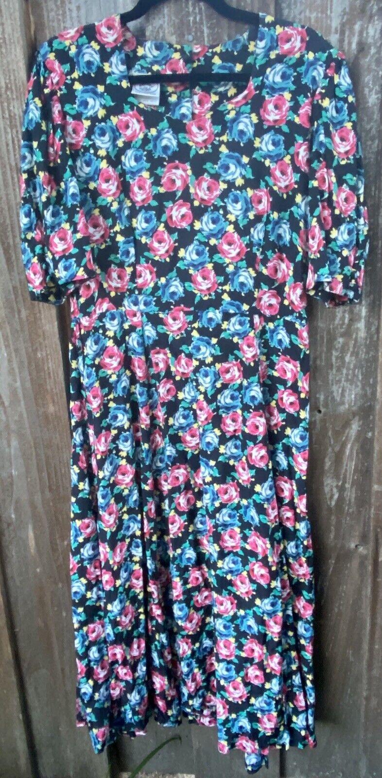 80s 90s Vtg Floral Print Laura Ashley Dress Cotta… - image 11