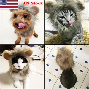NEW-Pet-Cosplay-Costume-Lion-Mane-Wig-Hat-for-Dog-Cat-Halloween-With-Ears-Party