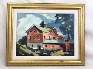 Vintage American Impressionista Olio Pittura Cornice Originale Connecticut USA
