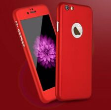 For iPhone 6 S 7 Plus 360° Full Body  Thin Hard Case Cover+Tempered Glass Screen