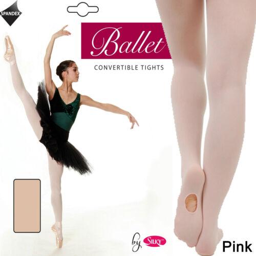 Girls kids convertible Foot /& full foot Ballet Dance tights Pink Age 7-13