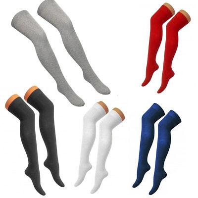 Clever New Women Plain Lycra Over The Knee Thigh High Socks Girls Otk Socks Uk Size 4-6