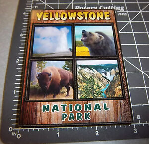 Details About Yellowstone National Park Wyoming Collectible Magnet Old Faithful Bear Bison