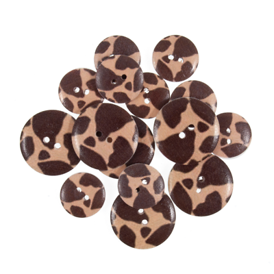 25mm 15 x Assorted Small Giraffe Animal Print Wooden Craft Buttons 18mm