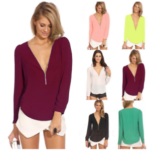 Sexy Womens V-Neck Chiffon Tops Blouse Loose Long Sleeve Shirt Blouse Large Size