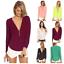 thumbnail 1 - Sexy Womens V-Neck Chiffon Tops Blouse Loose Long Sleeve Shirt Blouse Large Size