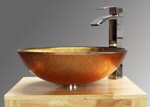 Bathroom-Sink-Glass-Wash-Basin-Countertop-Compact-Round-Corner-Heavy-Duty