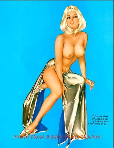 "Inflation Platinum Blonde Nude Woman 8.5x11/"" Photo Print Alberto Vargas Pin-up"