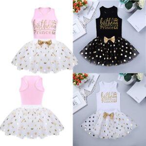 Trempé 2pcs Bébé Fille Princesse Anniversaire Fête Costume Chemise + Pois Tutu Jupe Set-afficher Le Titre D'origine