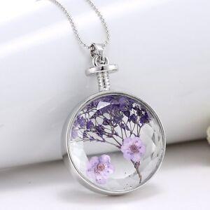 Luxury purple dried real flower clear glass locket pendant image is loading luxury purple dried real flower clear glass locket mozeypictures Choice Image