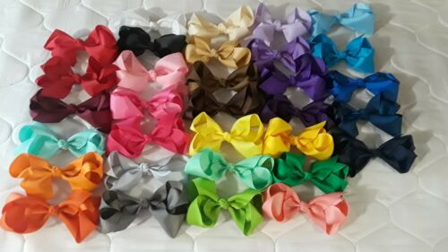 "New 6.5/"" Hair Bows Clips 32 Colors-Grosgrain-Handmade-Girls-Baby-Volume Discount"