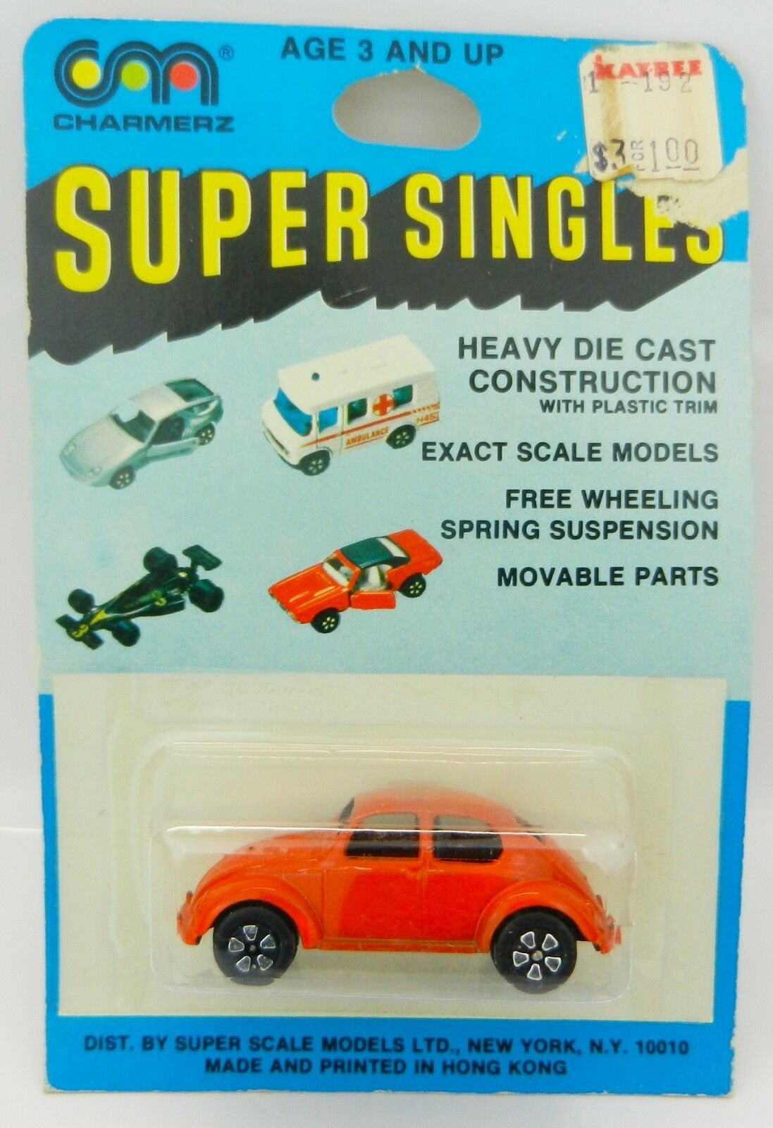Vintage Playart  charmerz Super Singles  Orange VW Volkswagen Bug Beetle  NEUF sous emballage