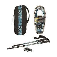 Yukon Charlie's Junior 7x16 Aluminum Snowshoes & Trekking Poles - Blue Camo