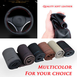 Car-Auto-38cm-Steering-Wheel-Cover-Durable-Soft-Perforated-Real-Leather-Sew-era