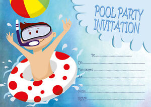 10 pool birthday party invitations or thank you cards ebay