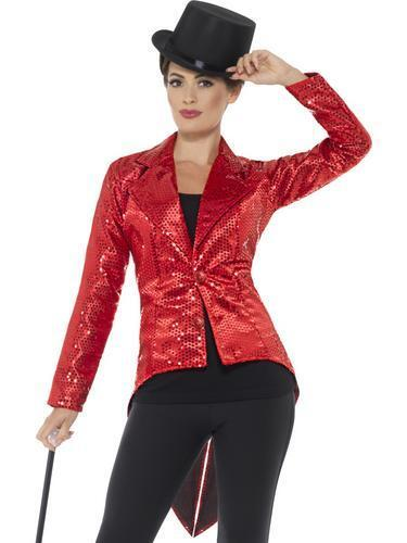Red Sequin Tailcoat Ladies Fancy Dress Cabaret Showgirl Blazer Womens Costume