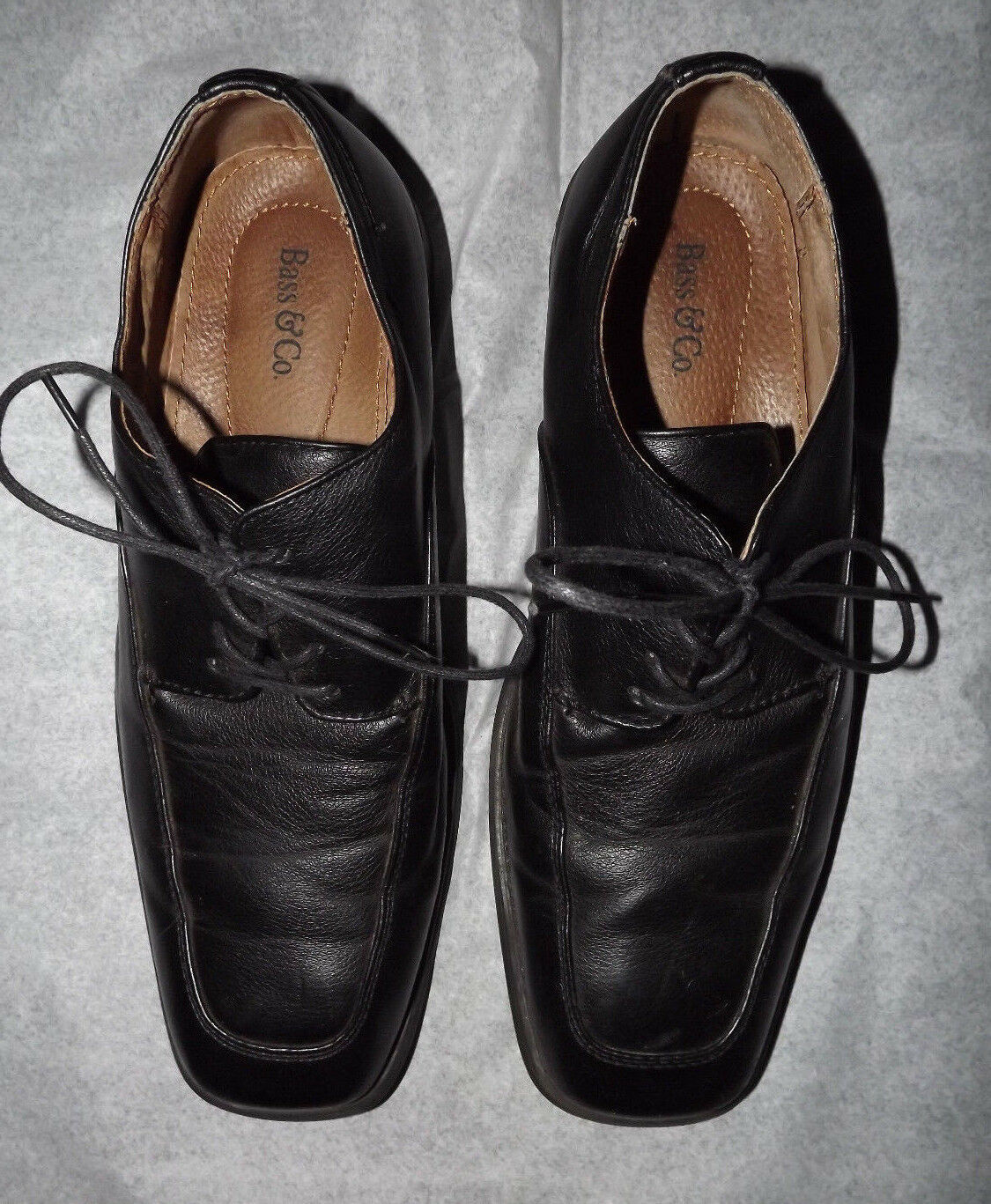 G.H. Bass & Co. 10 Men's Charles US Size 10 Co. 1/2 M Black Leather Square Toe Shoes 813cb8