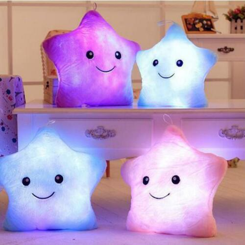 Colorful LED Star Body Pillow Luminous Light Glow Cushion Soft Relax Support DIY