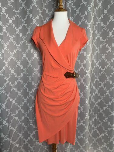 Cache Medium Coral Ponte Dress Belt Buckle Career