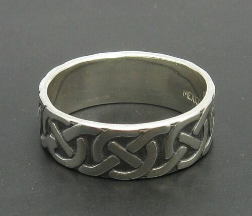 Sterling silber ring 925 7mm Keltisches band solide R000494 EMPRESS