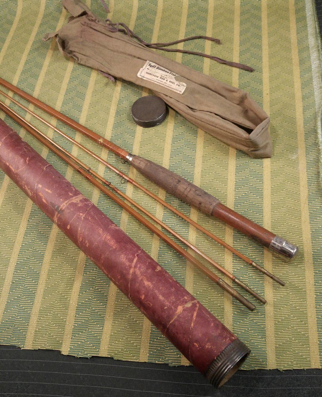 Antiguo Montague Split de bambú 3-Pc Volar Caña + extra Sección Superior + Estuche de Fibra
