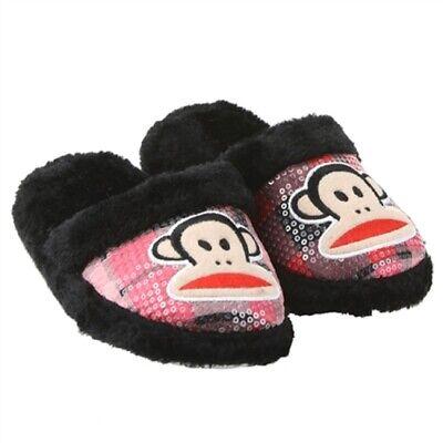 Paul Frank Julius Monkey Grey Pink Girls Slippers Sz XS 11-12 S 13-1 M 2-3 L 4-5