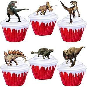 Dinosaur Cup Cake Toppers Edible Party Decorations   eBay