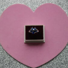 Beautiful Natural Faceted teardrop Blue Sapphire 925 Silver Ring Size 6.5 In Box