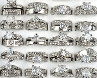 5x Women Silver Stainless Steel Ring Wholesale Bulk Lots Crystal Fashion Jewelry