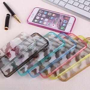 Camuflaje-Transparente-Claro-Cubierta-Dura-Parachoques-Funda-para-Iphone-5-5s